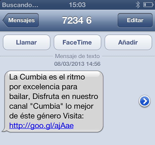 Un SMS mal redactado, no descriptivo que no aporta valor al usuario