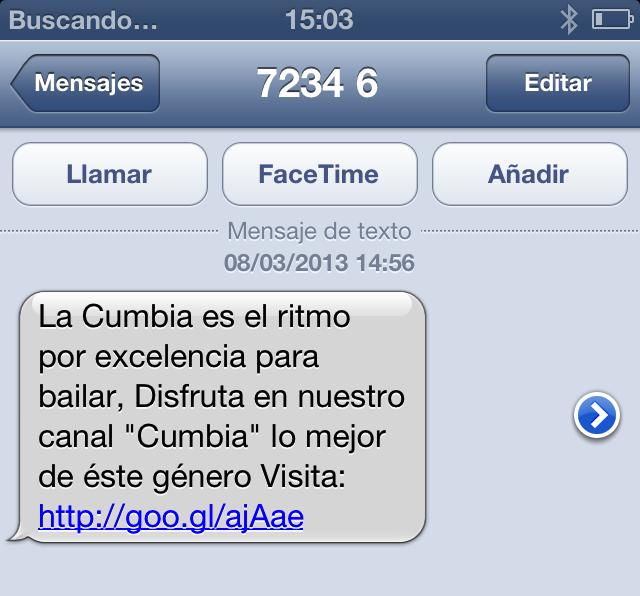 Un SMS mal redactado, no descriptivo que no aporta valor al usuario