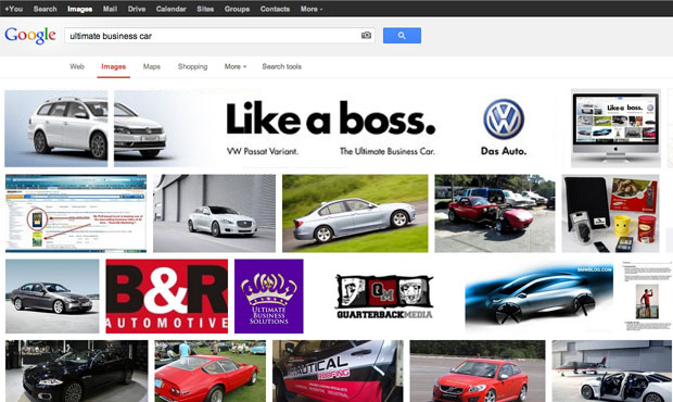Banner de Volkswagen en búsqueda orgánica de imagenes